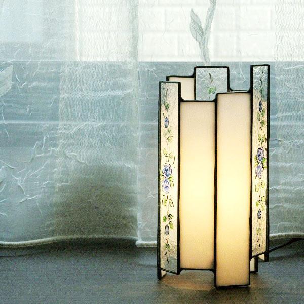 ステンドグラスの筒ランプ ローズライン(青)【卓上ランプ】