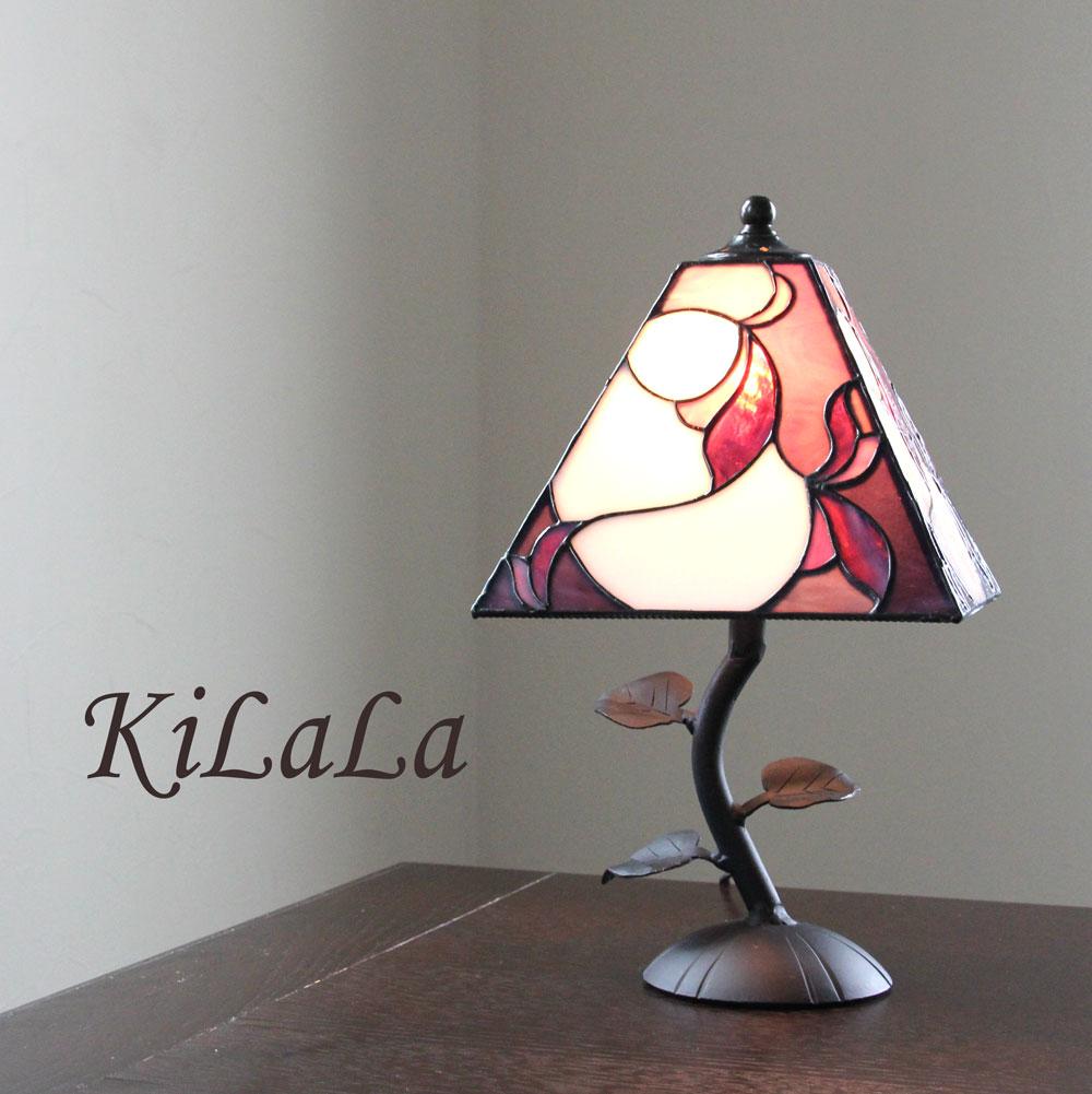 オリジナルステンドグラス リーフベースランプ 紫 テーブルランプ