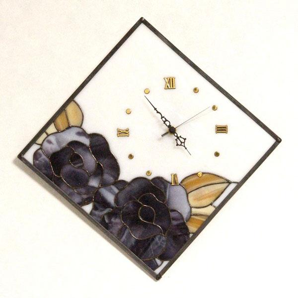 【ステンドグラス】薔薇の時計(紫)