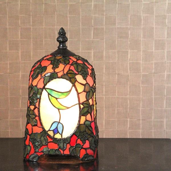 【ステンドグラス】待つ宵(赤×緑)【ランプ】