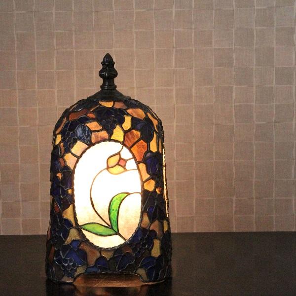 【ステンドグラス】待つ宵(茶×緑)【ランプ】