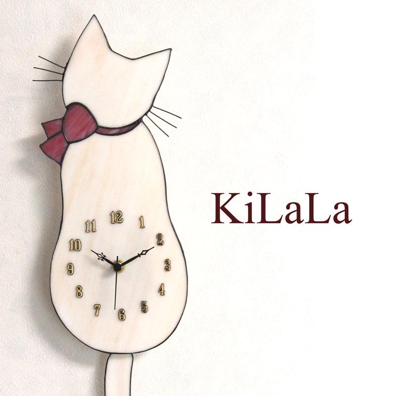 【オリジナルステンドグラス】ネコ時計 白猫/ピンクリボン