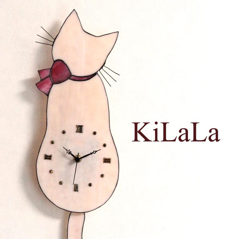 【オリジナルステンドグラス】ネコ時計 さくら猫/ピンクリボン/ローマ数字