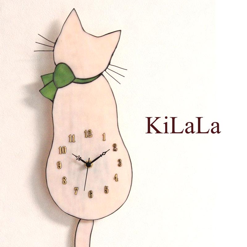 【オリジナルステンドグラス】ネコ時計(さくら猫/緑リボン/アラビア数字)