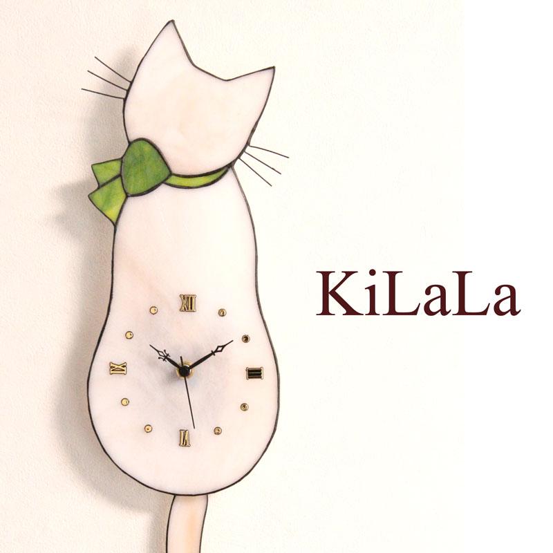 【オリジナルステンドグラス】ネコ時計 白猫/緑リボン/ローマ数字