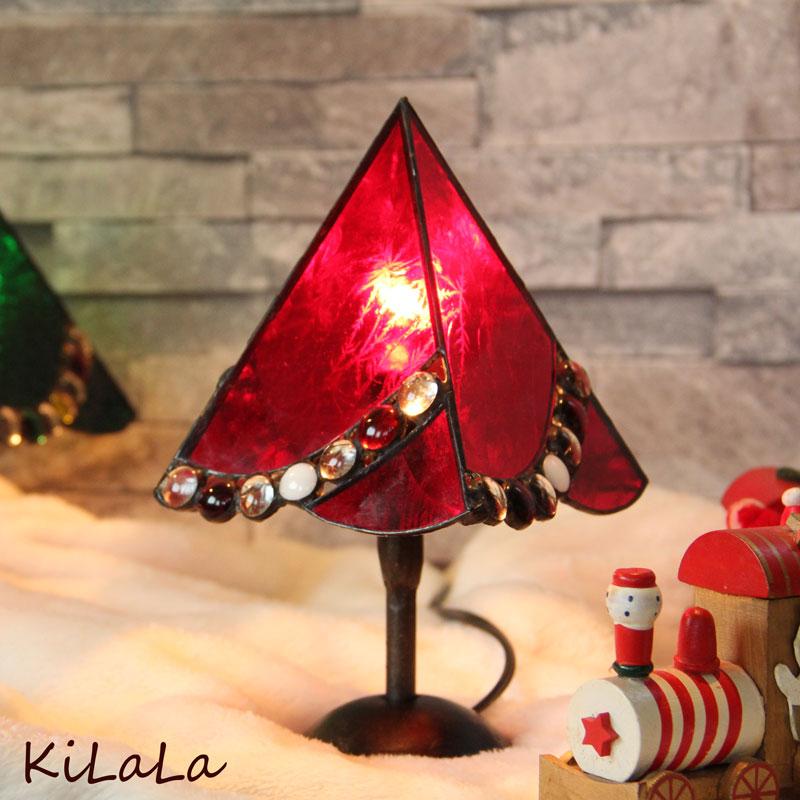 ステンドグラスのクリスマスツリー(ショート/赤)(ステンドグラス】【オリジナル】