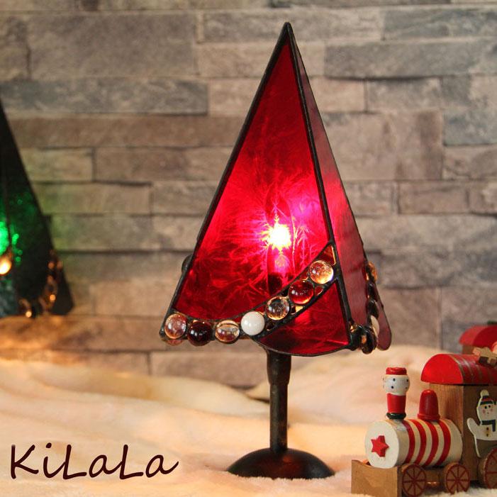 クリスマスツリー(赤)トール【ステンドグラス】【オリジナル】