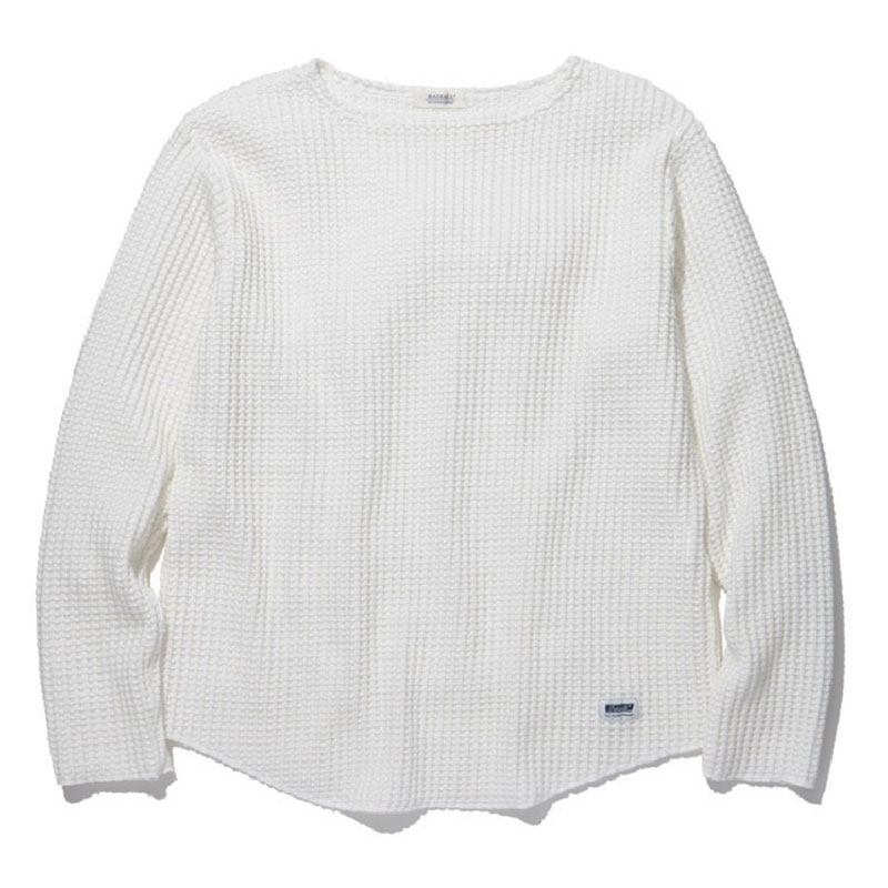 【RADIALL】ラディアル【BIG WAFFLE BOAT NECK T-SHIRT L/S TEE】White【ロンTEE】ワッフル【送料無料】