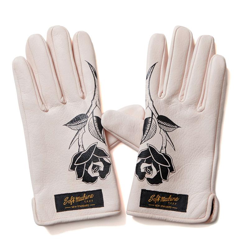 【Softmachine】ソフトマシーン【Roses Leather Glove】Beige【レザーグローブ】本革【手袋】グローブ【ソフトマシン】送料無料【22000】