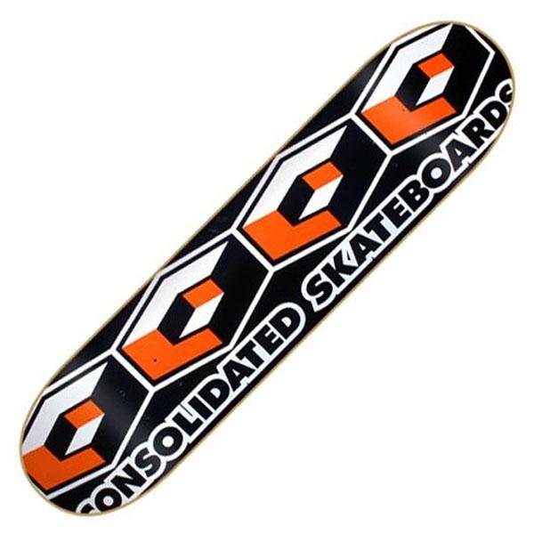 【CONSOLIDATED】コンソリデーテッド【Team 4 Cube Orange Deck】8.25 x 31.75(inch) 【SKATEBOARD】スケボー スケート【DECK】デッキ【コンソリ】