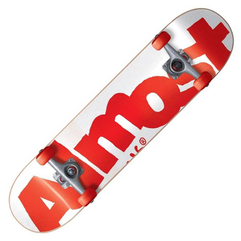 【Almost】オルモスト【SIDE PIPE WHT/RED Complete Deck】7.625inch【SKATEBOARD】スケボー【スケート】コンプリート【完成品】送料無料