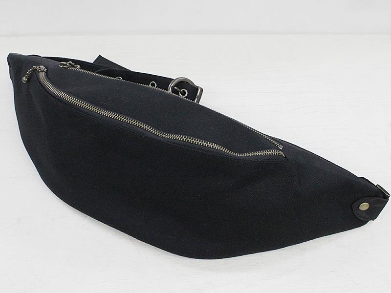 400gram TOKYO16オンス 帆布 FANNY PACK BLACK[ 8号帆布 ファニーパック ポーチ ショルダー ブラック ボディーバッグ Made in Japan. ]