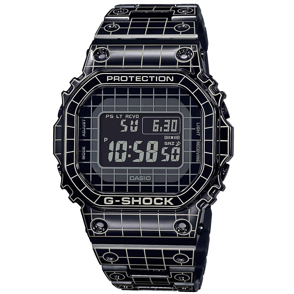 """CASIO """"G-SHOCK"""" GMW-B5000CS-1JR ブラック×グリッドレーザー加工[カシオ Gショック グリッドトンネル フルメタル スピードモデル 電波ソーラー腕時計 Bluetooth 送料無料!]!ご注意ください!「クレジットカード決済のみ」"""