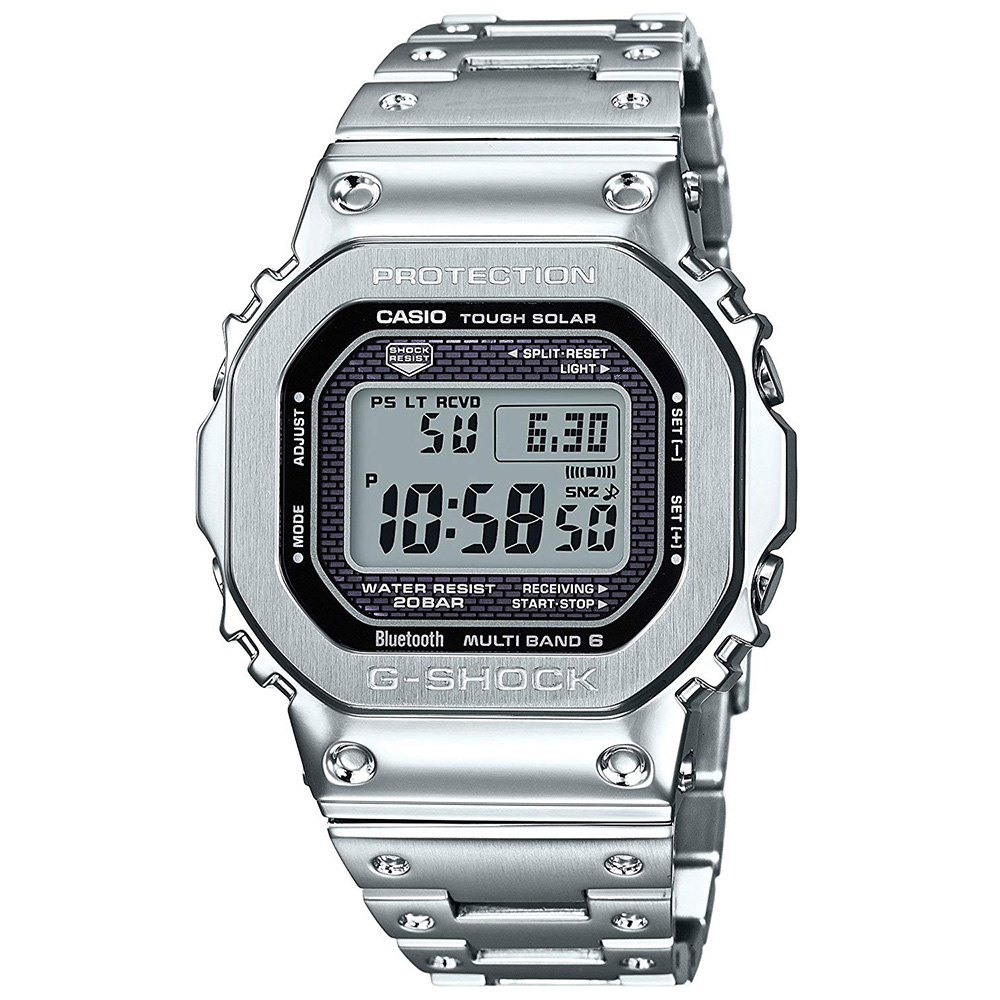 "CASIO ""G-SHOCK"" GMW-B5000D-1JF シルバーフルメタル Gショック[カシオ Gショック スピードモデル 電波ソーラー腕時計 青tooth 送料無料!]"