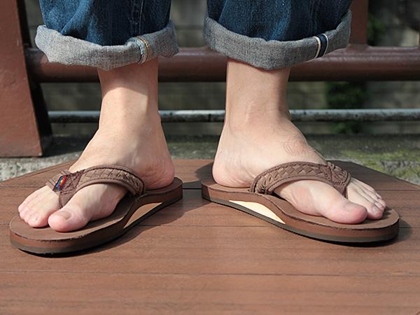 2f9b9c4a7ac002 standa   Rainbow single layer レザービーチ sandals