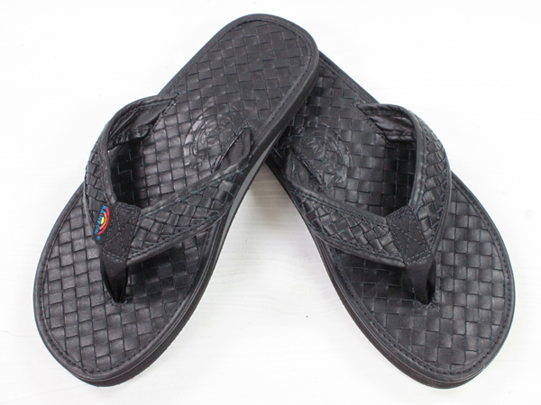 "RAINBOW Sandals LEATHER Single Layer Arch ""The Strands""ブラック [レインボー シングルアーチレザービーチサンダル] 10P05July14"