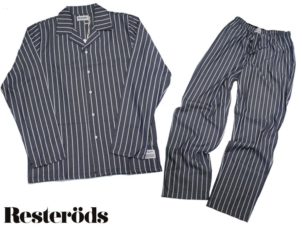 "RESTERODS ORIGINAL ""WOVEN PYJAMA""綿100%布帛の上質なパジャマです[レステロッズ ねまき 寝衣 セットアップ]父の日"