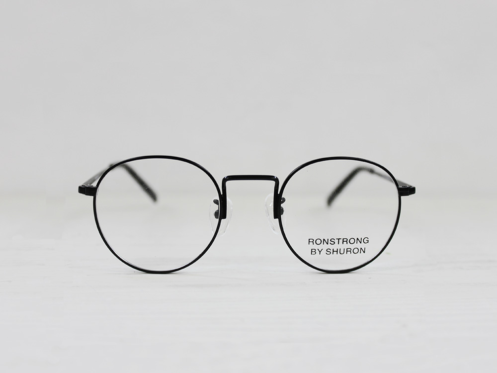 SHURON Made in U.S.A.RONSTRONG 44mm ブラック【デモレンズ】 [シュロン ボストン型メガネ 眼鏡フレーム 丸メガネ]
