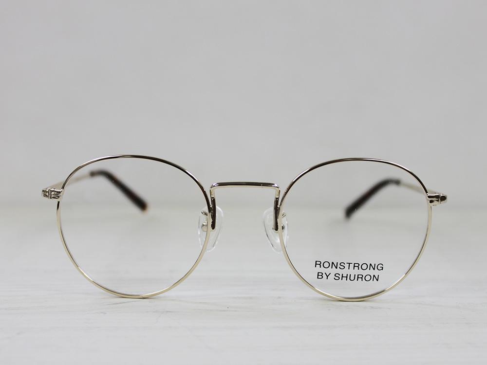 SHURON Made in U.S.A.RONSTRONG 48mm ゴールド【デモレンズ】 [シュロン ボストン型メガネ 眼鏡フレーム 丸メガネ]