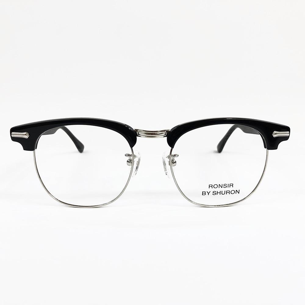 SHURON Made in U.S.A.RONSIR ZYLブラックデモレンズ [シュロン ブロウ型ブロー型メガネ 眼鏡フレーム]