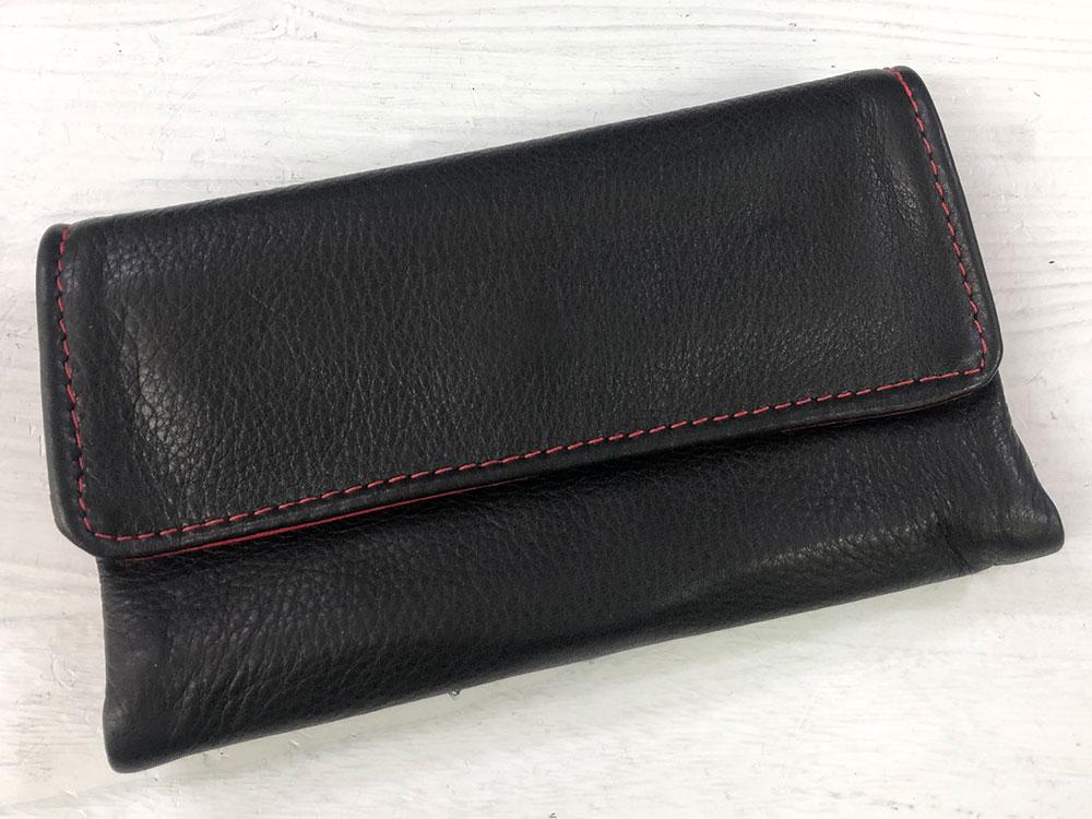Victoria Leather TRAVEL WALLET ブラック/レッド [ビクトリアレザー トラベルウォレット 長財布]