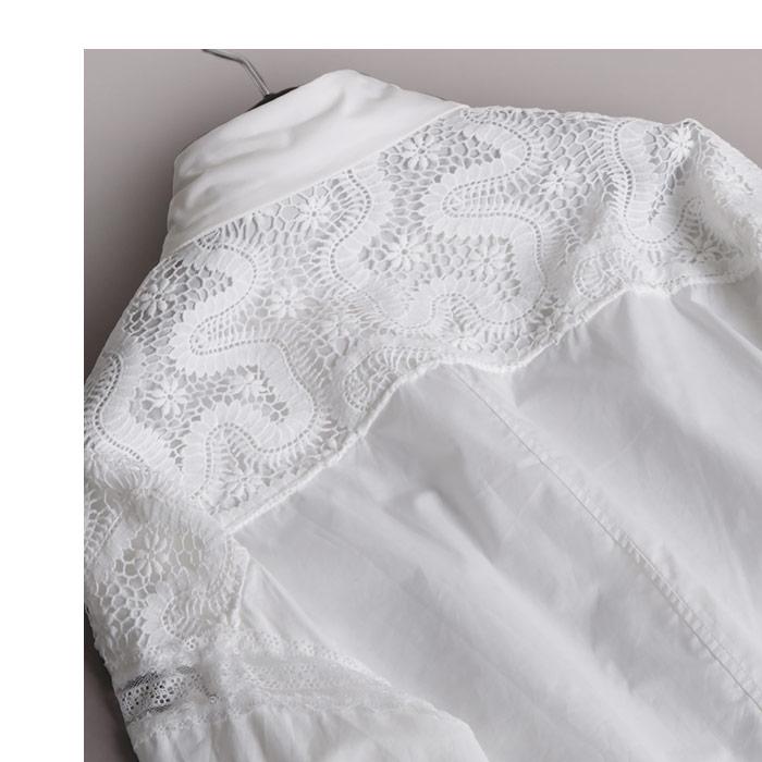 トップス カットソー 総柄 刺繍 花 レース ブラウス レディース プルオーバー フェミニン 長袖 大きいサイズ 新作 美しいフラワー刺繍柄がアクセントなシャツブラウス NO 12 101 165327EH2DY9IW