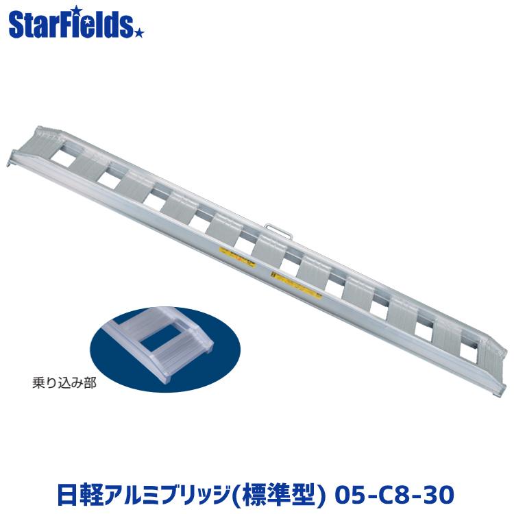 日軽アルミブリッジ(標準型) 05-C8-30 有効幅300mm、全長2400mm、積載荷重0.5トン/セット【メーカー直送・代引不可】