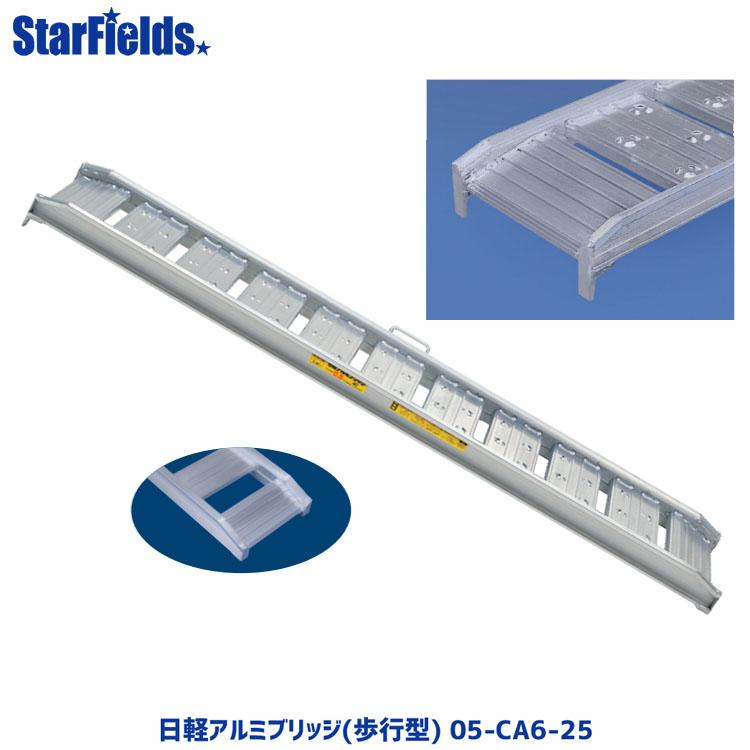 日軽アルミブリッジ(歩行型) 05-CA6-25 有効幅250mm、全長1800mm、積載荷重0.5トン/セット【メーカー直送・代引不可】