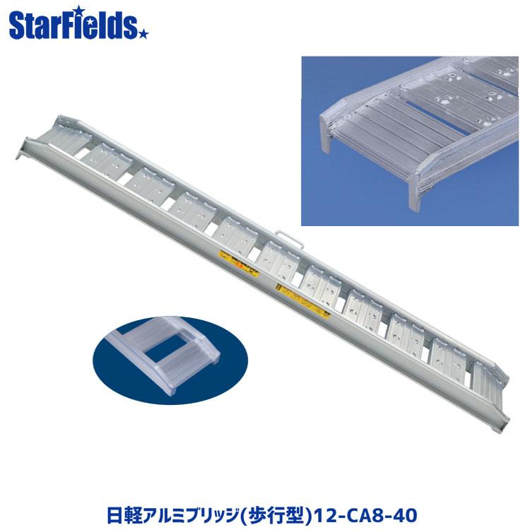 日軽アルミブリッジ(歩行型) 12-CA8-40 有効幅400mm、全長2400mm、積載荷重1.2トン/セット【メーカー直送・代引不可】