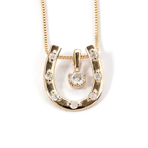 ダイヤモンド ネックレス 0.1ct K18 ピンクゴールド 馬蹄型ネックレス 馬蹄 ダイヤネックレス シンプル ペンダント