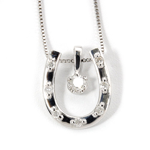 ダイヤモンド ネックレス 0.1ct K18 ホワイトゴールド 馬蹄型ネックレス 馬蹄 ダイヤネックレス シンプル ペンダント