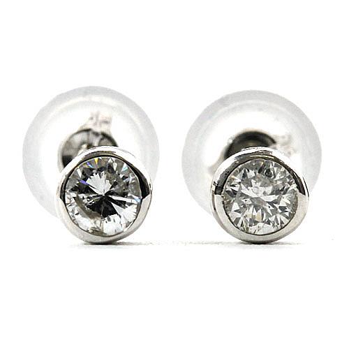 ダイヤモンド ピアス 0.2ct K18 ホワイトゴールド ダイヤピアス ダブルロックキャッチ 覆輪留 シンプル スタッド