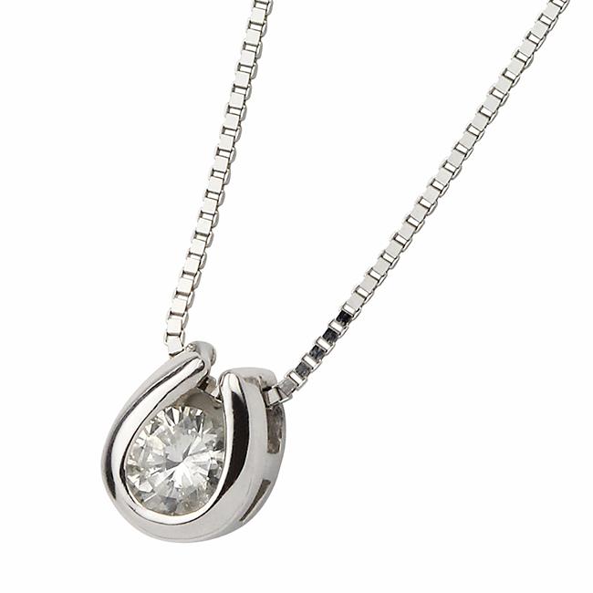 ダイヤモンド ネックレス 一粒 K18 ホワイトゴールド 0.1ct ダイヤネックレス 馬蹄 ペンダント シンプル
