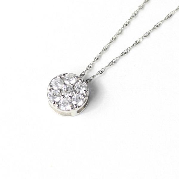 プラチナ SIクラス 0.3ct ダイヤモンド 7ストーン フラワー デザイン ペンダント ネックレス