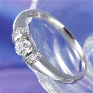 0.28ctプラチナダイヤリング 指輪 デザインリング 17号