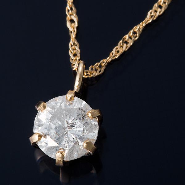 ダイヤモンド ネックレス 0.3カラット K18 0.3ctダイヤモンドペンダント スクリューチェーン(鑑別書付き)