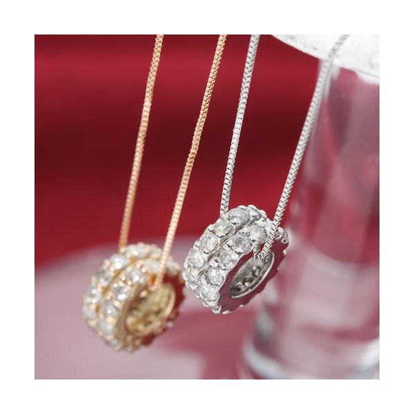 ダイヤモンド ネックレス K18 ピンクゴールド 0.3ct エタニティネックレス Hカラー I1クラス ダイヤ28石 0.3カラット サークル ペンダント 【直送品/代引不可】