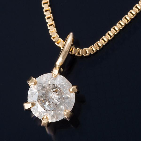 ダイヤモンド ネックレス 0.1カラット K18 0.1ctダイヤモンドペンダント ベネチアンチェーン(鑑定書付き)