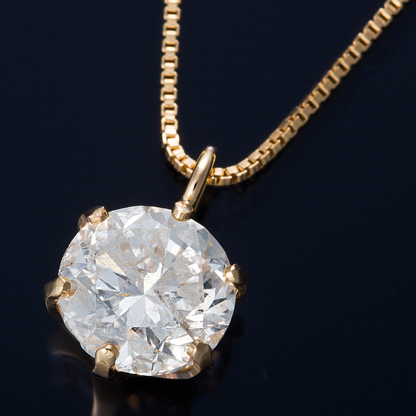 ダイヤモンド ネックレス 0.5カラット K18 0.5ctダイヤモンドペンダント ベネチアンチェーン(鑑定書付き)