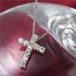 ダイヤモンド ネックレス K10 ホワイトゴールド 0.3ct ダイヤネックレス Hカラー I1クラス ダイヤ10石 0.3カラット 十字架 クロス ペンダント 【直送品/代引不可】