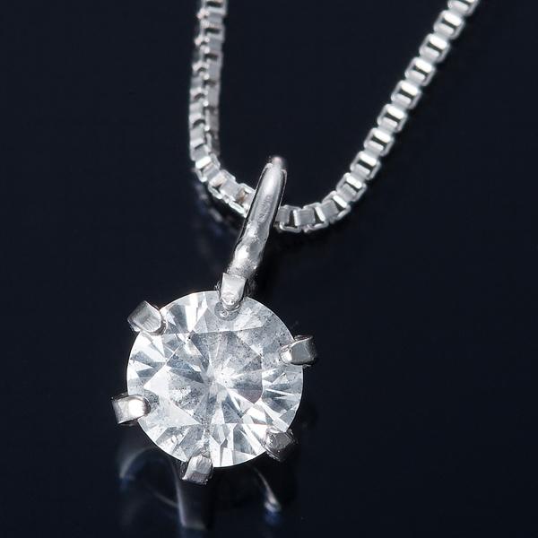 ダイヤモンド ネックレス 0.1カラット 純プラチナ 0.1ctダイヤモンドペンダント ベネチアンチェーン(鑑定書付き)