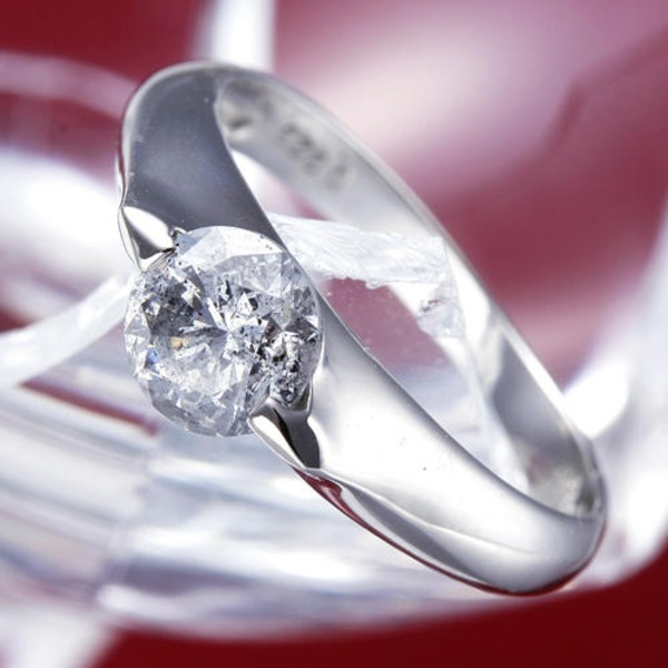 PT900(プラチナ)0.9ctダイヤリング 指輪 159713 15号【鑑別書付き】