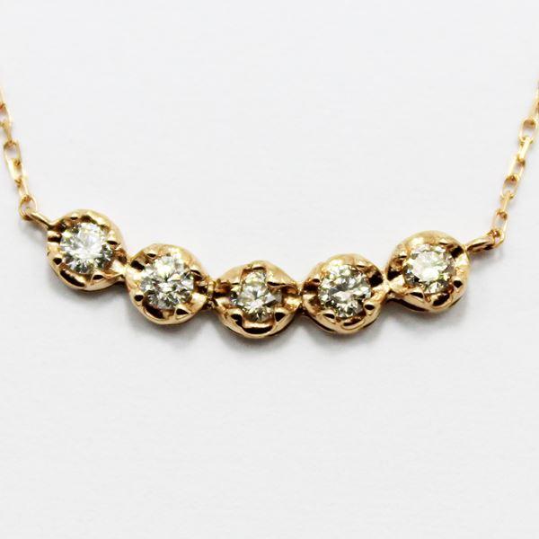 18金ピンクゴールド0.3ctダイヤモンド5ラインデザインペンダント