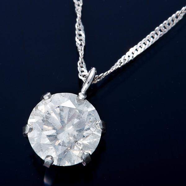 ダイヤモンド ネックレス 0.7カラット K18WG 0.7ctダイヤモンドペンダント スクリューチェーン(鑑定書付き)