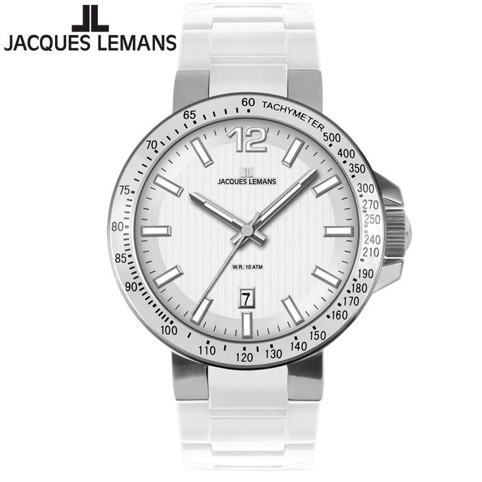 【期間限定・エントリーでポイント5倍】ジャックルマン [JACQUES LEMANS] メンズ ミラノスポーツ 1-1695B 42mm ホワイト文字盤 シリコンラバーベルト 男性用 ウオッチ 即納 (時計 腕時計 とけい)