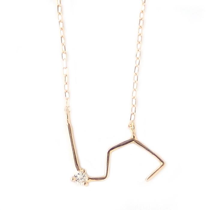 12星座 ダイヤモンド ネックレス 獅子座 しし座 一粒 0.01ct K18 ゴールド ダイヤネックレス ペンダント