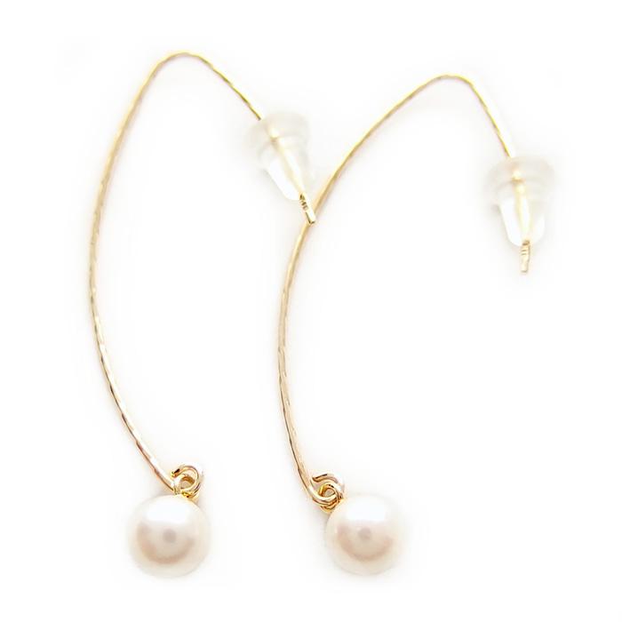 ピアス アコヤ真珠 パール 5mm K18 イエローゴールド ジプシーピアス 5ミリ珠 あこや真珠 パール フック 本真珠 真珠 限定品