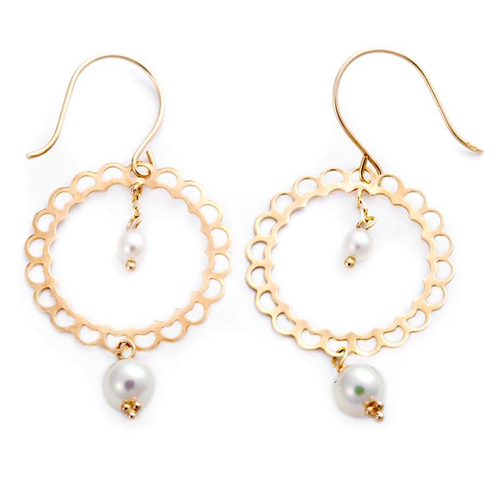 ピアス アコヤ真珠 パール ジプシーピアス K10イエローゴールド アンティーク調 サークルモチーフ あこや真珠 かわいい 大人女子 贈り物 プレゼント