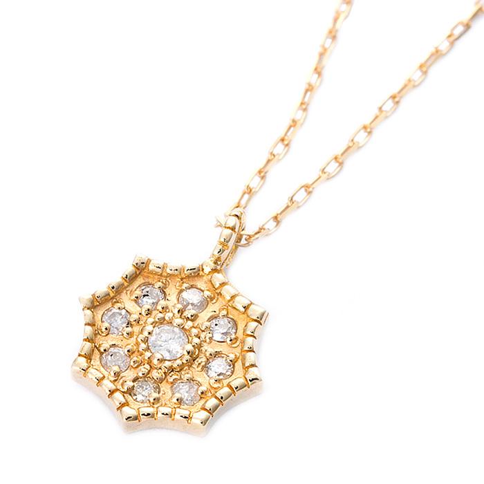 ダイヤモンド ネックレス 一粒 K10 イエローゴールド ダイヤ0.06ct アンティーク調 花 フラワー シンプル ペンダント