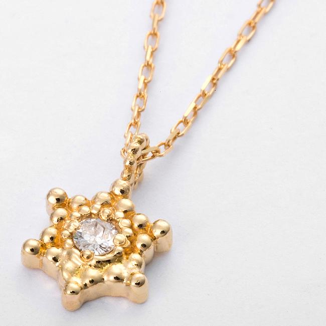 ダイヤモンド ネックレス K10 イエローゴールド ダイヤ0.03ct アンティーク調 星 スター シンプル かわいい 大人女子 贈り物 プレゼント